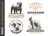 Set logo illustration dog pet emblem on white background
