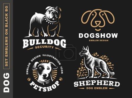 Set logo illustration dog, pet emblem on black background