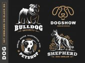 Set logo illustration dog pet emblem on black background