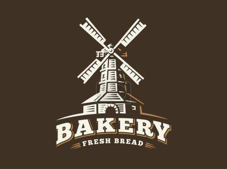 Windmill logo - vector illustration. Bakery emblem on dark background