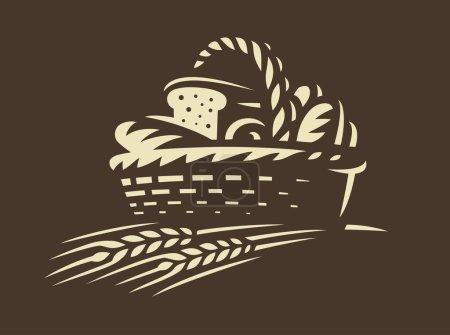 Illustration pour Icône panier à pain - illustration vectorielle. Design emblème de boulangerie sur fond sombre - image libre de droit