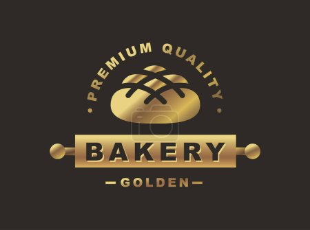 Golden bread logo - vector illustration. Bakery emblem on black background
