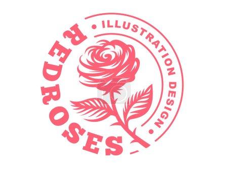 Red rose logo - vector illustration, emblem on white background