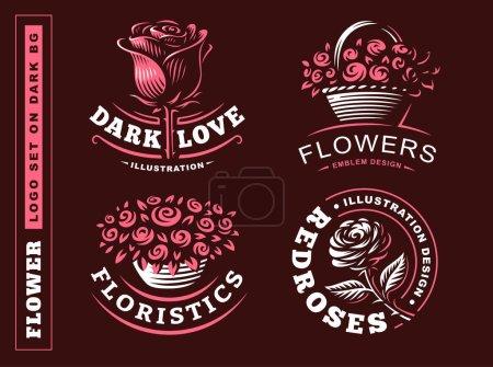 Set flowers logo - vector illustration, emblem on dark background
