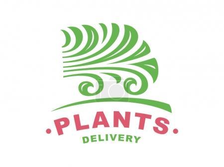 Plants delivery logo - vector illustration, emblem on white background