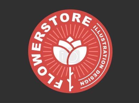 Red rose logo - vector illustration, emblem on dark background