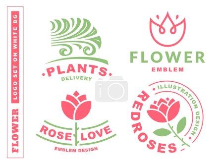 Set flowers logo - vector illustration, emblem on white background