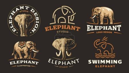 Illustration pour Set logo éléphant - illustration vectorielle, dessin de l'emblème sur fond sombre - image libre de droit