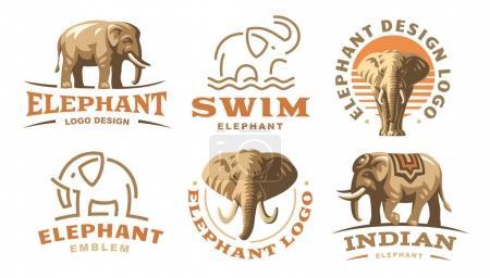 Set elephant logo - vector illustration, emblem