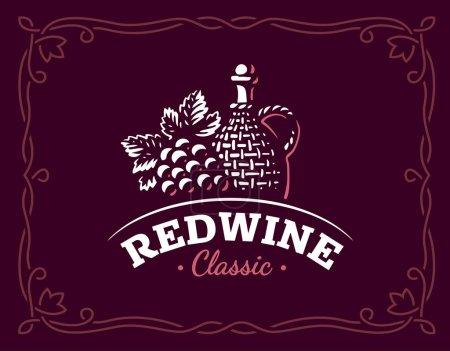 Bottle of wine and grapes logo - vector illustration, emblem on maroon color background