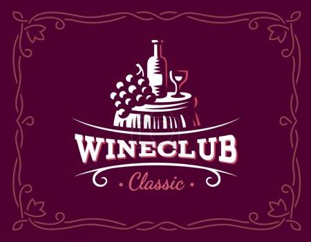 Wine and grapes logo - vector illustration, emblem