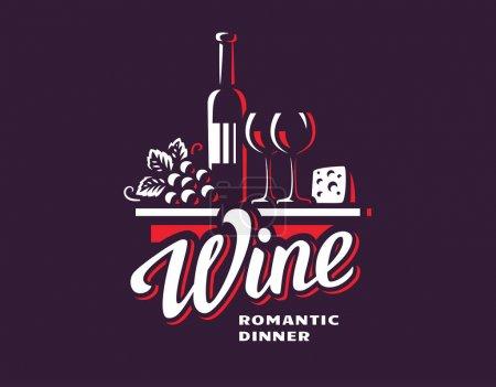 Bottle of wine and grapes logo - vector illustration, emblem