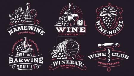 Wine set logo - vector illustrations, emblems on dark background