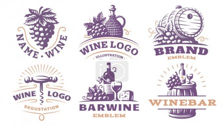 Wine set logo - vector illustrations, emblems