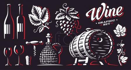 Illustration pour Vin, illustrations vectorielles, dessin sur fond sombre - image libre de droit