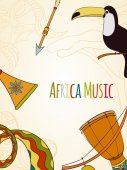 Hand-drawn africa music card