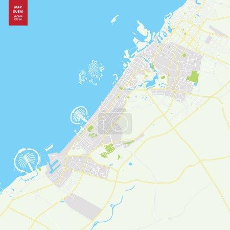 Illustration pour Carte vectorielle Dubaï EAU . - image libre de droit