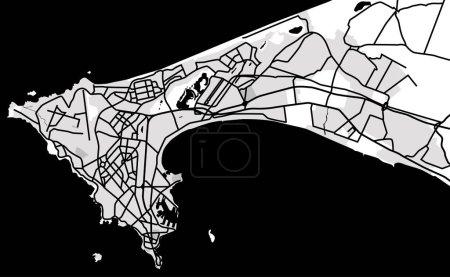 Illustration pour Plan noir et blanc du Dakar, Sénégal. Plan de ville de Dakar. Illustration vectorielle - image libre de droit