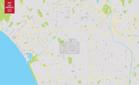Illustration pour Carte vectorielle en couleurs de Los Angeles, États-Unis. Plan de la ville de Los Angeles. Illustration vectorielle - image libre de droit