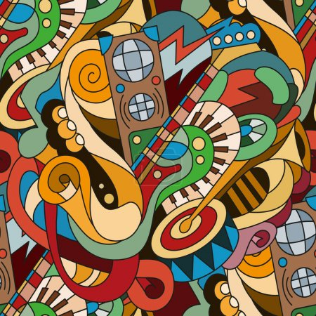 Illustration pour Peint à la main brillant modèle sans fin avec des éléments de griffonnages. Instruments de musique. Modèle de base pour la conception web, papier peint, couvre, livrets. - image libre de droit