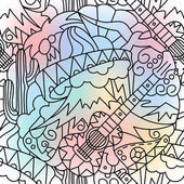 Hand drawn seamless pattern Mexican theme Elements of doodles