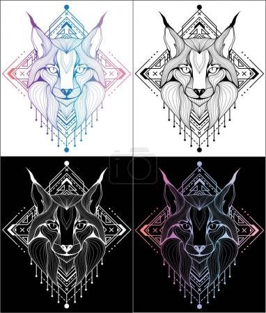 Illustration pour Lynx conception de tatouages et t-shirts 4 couleurs, ligne, illustration graphique - image libre de droit