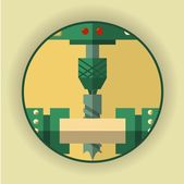 Round logo icon symbol of the drilling process The emblem for