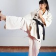 Woman demonstrate martial arts working together. F...