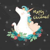 Merry Christmas Greeting card and background with unicorn