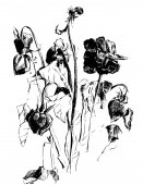 A drawing of dried roses