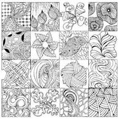 Hand drawn zentangle background for coloring page