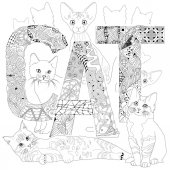 Word CAT for coloring Vector decorative zentangle objects