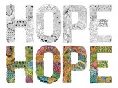 Word HOPE zentangle for coloring Vector decorative object