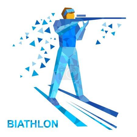 Biathlon Cartoon biathlete shoots a