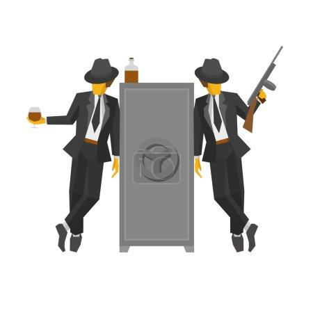 Двое гангстеров в костюмах стоят