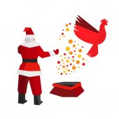 Santa Claus produces a fire rooster out of the gift bag China astrology symbol cock flies to freedom New year concept for card or poster Flat style vector clip art on white background