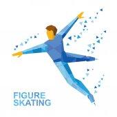 Winter sports - men's single skating Cartoon figure skater training Athlete in blue skate on ice isolated on white background Flat style vector clip art