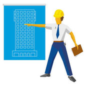 Engineer builder in helmet show blueprint with project Architect with papers in hand giving presentation of new residential building Flat vector clip art on white background
