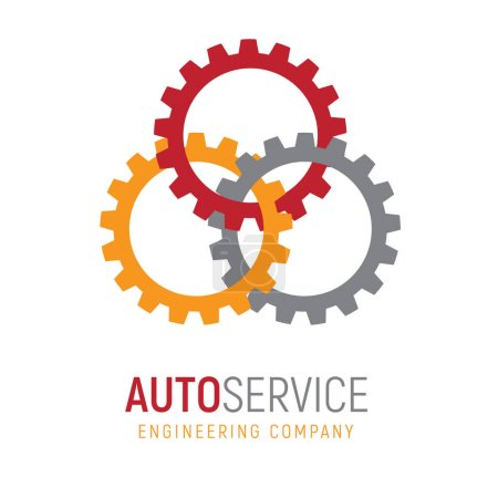 Illustration for Gear logo template. Logotype for heavy industry, auto parts store, workshop or repair service. Concept icon for engineering company. Simple style vector clip art. - Royalty Free Image