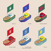 """Постер, картина, фотообои """"Набор Изометрические кораблей с флагами стран Азии"""""""