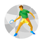Table tennis player with abstract patterns on gray mosaic background Flat athlete icon Sport Infographic - vector clip art