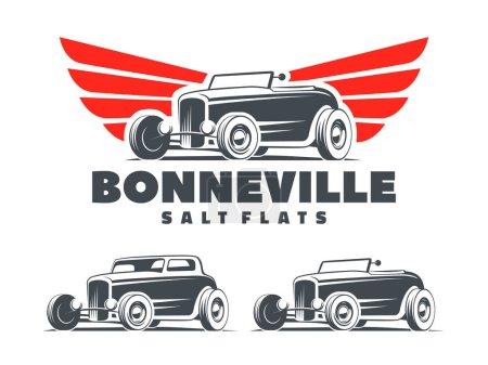 Illustration pour Tige chaude rétro avec logo ailes stylisées. Bonneville Salines emblème de course. Roadster et coupé isolés sur fond blanc . - image libre de droit