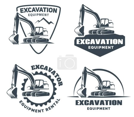 Set of excavator logos, emblems and badges isolated on white background.