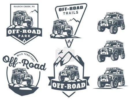 Set of off-road suv car monochrome logo, emblems and badges.