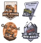 Set of off-road suv car monochrome logo emblems and badges isolated on white background Rock crawler car in mountains Off-roading trip emblems 4x4 extreme club emblems