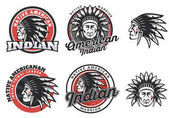 Set of american indian round logo badges and emblems