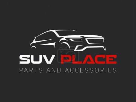 Illustration pour Logo de voiture Suv sur fond sombre. Voiture moderne SUV . - image libre de droit