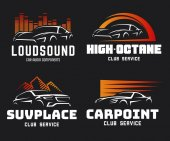 Set of modern sports car and SUV logo emblems and badges