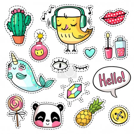 Fashion vector patch badges with animals, characters and things
