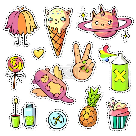 Patch badges and pins with cartoon animals, food and things
